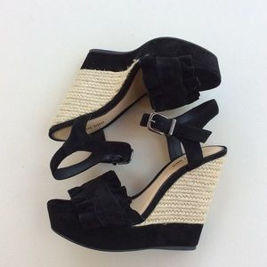 GIANNI BINI Black Suede Leather Sandals Size 7.5M